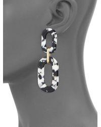 Ava & Aiden Metallic Flat Acrylic Double Oval Drop Earrings