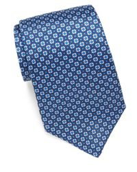 Saks Fifth Avenue - Blue Geometric Patterned Silk Tie for Men - Lyst