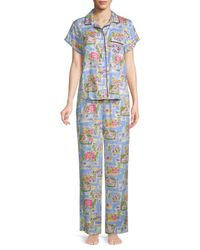 Jane And Bleecker - Blue Two-piece Graphic Pajama Set - Lyst