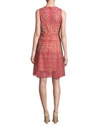 BCBGMAXAZRIA - Red Roundneck Lace Dress - Lyst