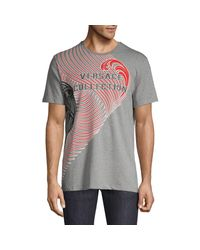 Versace Gray Wave Graphic T-shirt for men