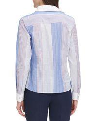 Tommy Hilfiger Blue Striped Multicolor Cotton Shirt