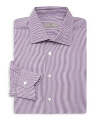 Canali Red Slim-fit Striped Cotton Sportshirt for men
