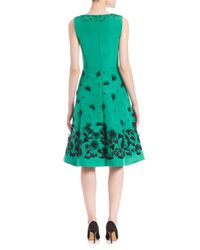 Oscar de la Renta Green Embroidered Silk Faille Dress