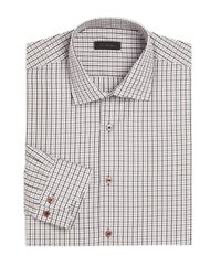 Saks Fifth Avenue Brown Collection Window Pane Checked Shirt for men
