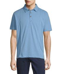 Vintage Italia Blue Short Sleeve Slub Polo for men