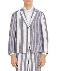 Thom Browne Blue Single-breasted Striped Blazer for men