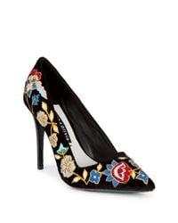 Alice + Olivia - Black Embroidered Floral Pumps - Lyst