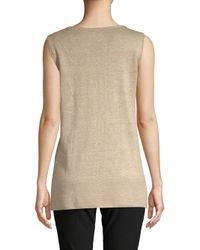 Lafayette 148 New York Natural Chain-trim Scoopneck Linen Tank Top