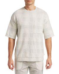 Madison Supply Gray Knit Fairisle Shirt for men