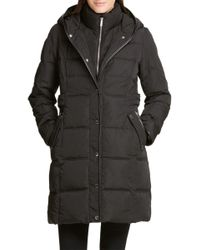DKNY Women's Hooded Quilted Coat - Black - Size Xxs