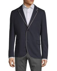 Valentino Blue Giacche Contrast Wool Sportcoat for men