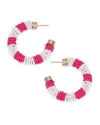 Ava & Aiden Pink Goldtone Beaded Hoop Earrings