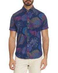 Robert Graham Blue Men's Shultz Tailored-fit Short-sleeve Printed Sport Shirt - Indigo - Size Xl for men