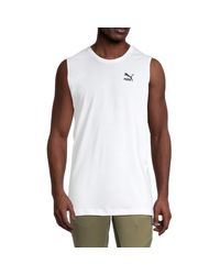 PUMA White Logo Cotton-blend Top for men