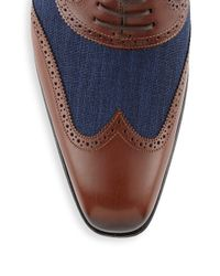 Mezlan - Blue Mixed Media Wingtip Oxford Shoes for Men - Lyst