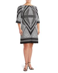 Calvin Klein | Black Printed Boatneck Dress | Lyst