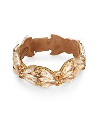 Deepa Gurnani Metallic Austrian Crystal & Suede Bangle Bracelet/goldtone