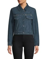 VEDA Blue Wynona Embellished Leather Jacket