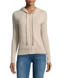 Saks Fifth Avenue - Natural Cashmere Zipped Hoodie - Lyst
