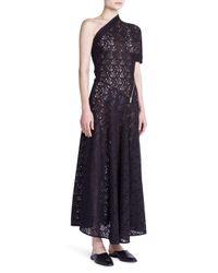 Stella McCartney Black Zip-detail One-shoulder Lace Dress