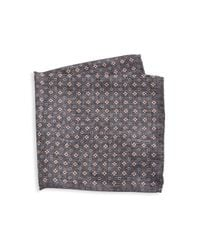 Saks Fifth Avenue Gray Collection Silk Floral Pocket Square for men