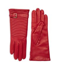 Portolano Red Quilted Leather Gloves
