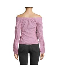 Haute Rogue Pink Striped Off-the-shoulder Cotton Top