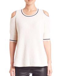 Zoe Jordan White Knitlab Mayer Cold-shoulder Sweater