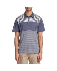 Saks Fifth Avenue Gray Collection Pieced Stripe Polo for men