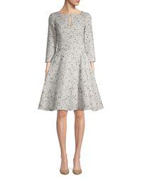 Oscar de la Renta Metallic Sequin Silk Fit-&-flare Dress
