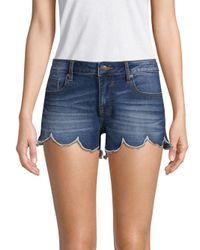 Vigoss Blue Scalloped Denim Shorts