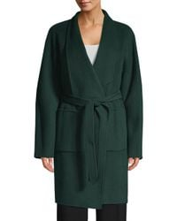 Elie Tahari Black Rhoda Wool Trench Coat