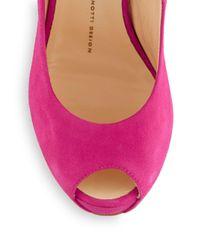 Giuseppe Zanotti - Pink Sculpted Suede Peep-toe Pumps - Lyst