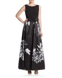 Ellen Tracy - Black Combo Floral Print Ball Gown - Lyst