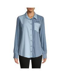 Lauren Moshi Blue Colorblock Graphic Shirt