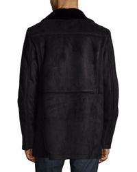 Calvin Klein - Black Faux Fur Double Breasted Jacket for Men - Lyst
