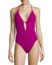 La Blanca Purple One-piece Studded Swimsuit
