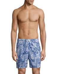 Trunks Surf & Swim Blue Sano Print Swim Shorts for men