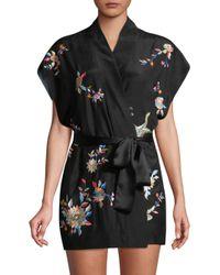Natori Black Mariposa Embroidered Silk Robe