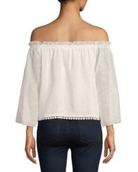 Laundry by Shelli Segal - Multicolor Lace-trimmed Off-the-shoulder Blouse - Lyst
