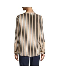 Calvin Klein Multicolor Striped Splitneck Utility Blouse