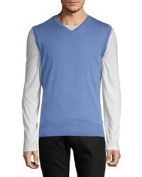 Orlebar Brown - Blue Rib-trimmed Merino Wool Sweater for Men - Lyst
