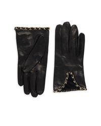 Portolano Black Chain Leather Gloves