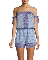 Lucky Brand - Blue Tile To Bloom Romper - Lyst