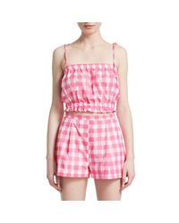Mds Stripes Blue Gingham Cropped Cotton Cami