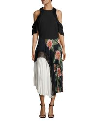 Delfi Collective Multicolor Clara Floral Lace Pleated Midi Skirt
