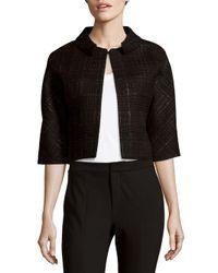 Carolina Herrera - Black Weave-pattern Wool-blend Jacket - Lyst