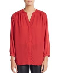 NYDJ Red V-neck Pleated Blouse