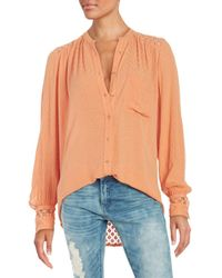 Free People Orange The Best Eyelet Inset Button Down Shirt